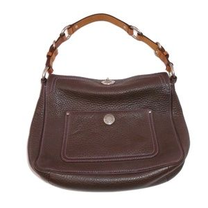 Coach Brown Textured Leather Shoulder Bag Small